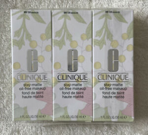 3x Clinique Stay Matte Oil Free Make Up Foundation WN 124 Sienna (D). Brand New