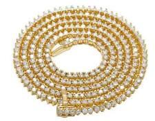 "Men's 10K Yellow Gold Martini Prong Genuine Diamond Necklace Chain 10 CT 3MM 26"""