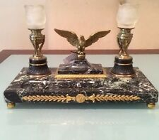 """Antique Gilt Bronze Mouted Marble Base Pen Tray w/Eagle  Candelabra 11""""h by 16""""w"""