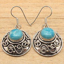 925 Silver Overlay On Solid Copper, Simulated LARIMAR Gems ART Earrings