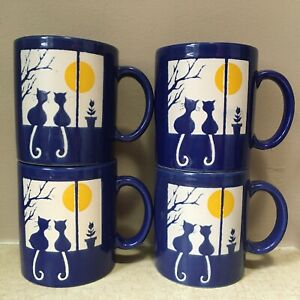 4 Waechtersbach BLUE Cats MUGS CUPS Moon Sitting In A Window HALLOWEEN Texture