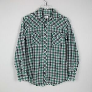 Wranglers Wrancher Mens Green Plaid Long Sleeve Snap Button Up Shirt Size M