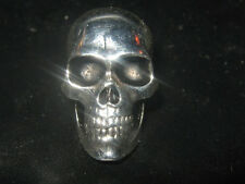 20MM SILVER STAINLESS STEEL REALISTIC 3D SKULL HEAD PENDANT CHARM NECKLACE