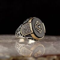 Handmade pure 925 SILVER Onyx Stone RINGS for Men all sizes wedding Box RRP £50