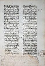 GRITSCH QUADRAGESIMALE INKUNABELBLATT UMFANGREICHE MARGINALIEN ZAINER ULM 1476