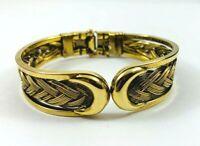 Gold Tone Clamper Bangle Cuff Bracelet Braided Gold Tone Wire