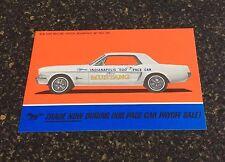 Original 1964 Mustang Indy Pace Car color postcard! Rare! NOS Shelby Autosport!