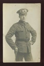 Military Soldier Motorcyclist? with goggles cWW1? RP PPC by H E Jones Gloucester