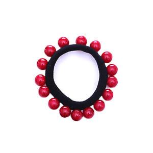 Colorful Pearl Scrunchies Women Elastic Beaded Headwear Hair Ring Rope Ties Band