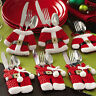 6Pcs SANTA CLAUS Xmas Cutlery Tableware Spoon Set Decor Suit Holder Pockets Bags