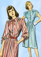 1940s Vintage Simplicity Sewing Pattern 2032 Simple Misses Day Dress Sz 14 32B