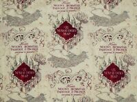 FAT QUARTER HARRY POTTER FABRIC  MARAUDER'S MAP CAMELOT FABRICS 100%  COTTON  FQ