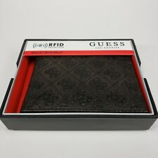 GUESS Men's Leather RFID Protection Slim Billfold Wallet, Black NIB NEW BROWN