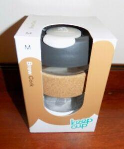 REUSEABLE KEEPCUP  BREW CORK  12oz    GLASS COFFEE CUP BROWN LID