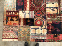 4x6 ANTIQUE HANDMADE WOOL RUG HAND-KNOTTED vintage PATCHWORK tribal carpet 5x6