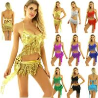 Womens Glitter Sequin Tassels Belly Rave Dance Outfits Bra Top Mini Wrap Skirts