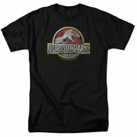 Jurassic Park Logo T Shirt Mens Licensed Dinosaur Movie Tee T Rex Black