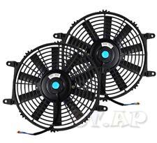 "Universal 2X 9"" Slim/Thin Push/Pull Electric Radiator/Engine Cooling Fan Black"