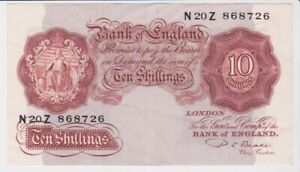 BANK OF ENGLAND 10/- TEN SHILLINGS BANKNOTE SUPERB CONDITION BEALE N20Z 868726
