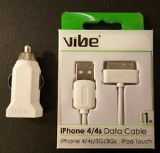 Vibe iPhone 4/4s Data Cable with USB Universal Car Charger.