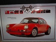 "PORSCHE 911 2.3L,EMBOSSED(3D) METAL ADVERTISING SIGN,12""x 8"" 30x20cm, GERMAN/RED"