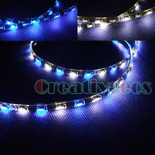 "2x White/Blue 60CM 24"" 60SMD Side-emitting Glow DRL Driving LED STRIP Light New"