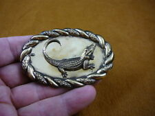 (b-allig-7) Alligator gator Fl oval braided trimmed Victorian Brass pin pendant