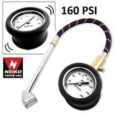 "Heavy Duty 160 PSI Tire Air Pressure Gauge 2"" Dia. For Car & Truck DIY Hose New"