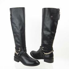 Enzo Anglolini Knee High Boot with Straps Chains, Black Leather, US Women's 6 M