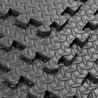 Black Interlocking Cushion Soft Foam EVA Mats Gym Floor Exercise Garage Home NEW