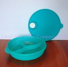Tupperware Crystalwave Microwave Safe Divided Dish 3 Compartments Aqua Blue New