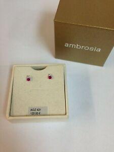 orecchini donna oro bianco 18 kt 750 ambrosia punto luce zircone bianco rosa