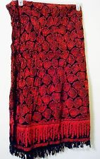 """Scarf Wrap Hip Scarf Coverup Shawl 40""""X56"""" Reversible Crinkled Red Black Fringed"""