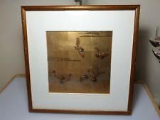 A Lovely Contemporary Gilded & Lacquered Japanese Artwork Depicting Cranes.