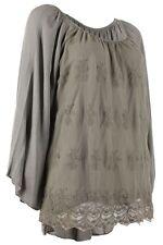 Lockre Sitzende Hüftlang Damenblusen,-Tops & -Shirts ohne Kragen für Business