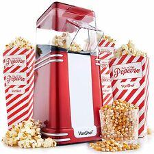 VonShef Retro Popcorn Maker Machine Popper Hot Air Electric Cinema Red Fun 1200W