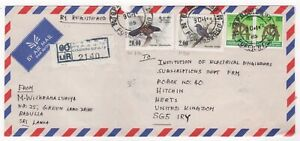 1986 SRI LANKA Registered Air Mail Cover BADULLA to HITCHIN GB Birds COLOMBO