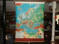 Vintage Full Color CRAM Co EUROPE Pull Down Classroom Map 1940's Excello Series