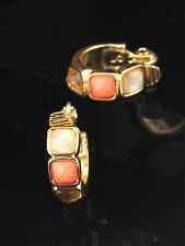 earrings CLIP ON NON Pierced Golden Creole Ring Salmon Coral Small J13