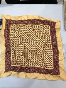 NEW Polo Ralph Lauren Yellow Medallion Vintage Handkerchief 100% Silk