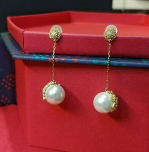 Gold Flower Embroidered Pearl (10mm) Drop Earring