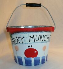 Merry Munchies Holiday Tin Pail Snowman Face Red Bucket Gift Basket Supplies