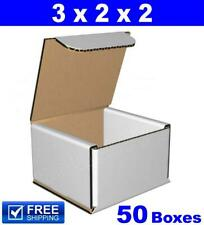 50 - 3x2x2 Small White Corrugated Cardboard Packaging Shipping Mailing Boxes NEW
