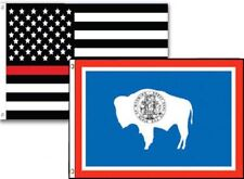 3x5 Usa Thin Red Line Wyoming State 2 Pack Flag Wholesale Combo 3'x5'