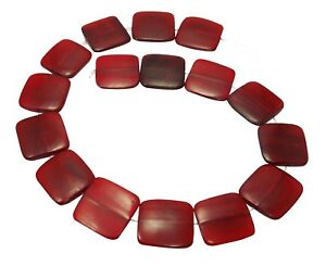 Red Horn Beads Size Flat Squares 0 31/32in Bone Beads Great Natural Beads