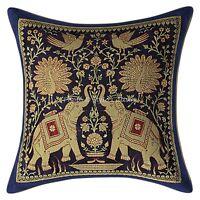 "Indian Pillow Cover Elephant Brocade Silk Dark Blue Cushion Pillowcase Throw 12"""