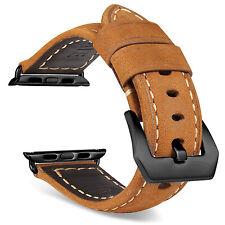 Bracelet de montre en cuir marron remplacement pour APPLE 1 2 3 42mm Noir