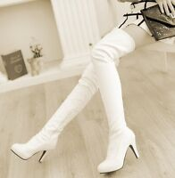 Winter Womens shoes cuffed high heel sexy over the knee thigh high boots UK Plus