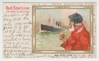 "[12272] 1905 POSTCARD RED STAR LINE STEAMER ""FINLAND"" from a MENU ARTIST SIGNED"