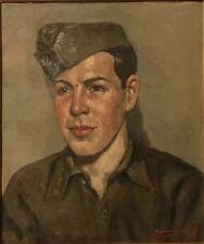 SOUNGOUROFF 1943 SOLDAT STALAG XVII B TABLEAU ART RUSSE PORTRAIT PEINTURE GAY